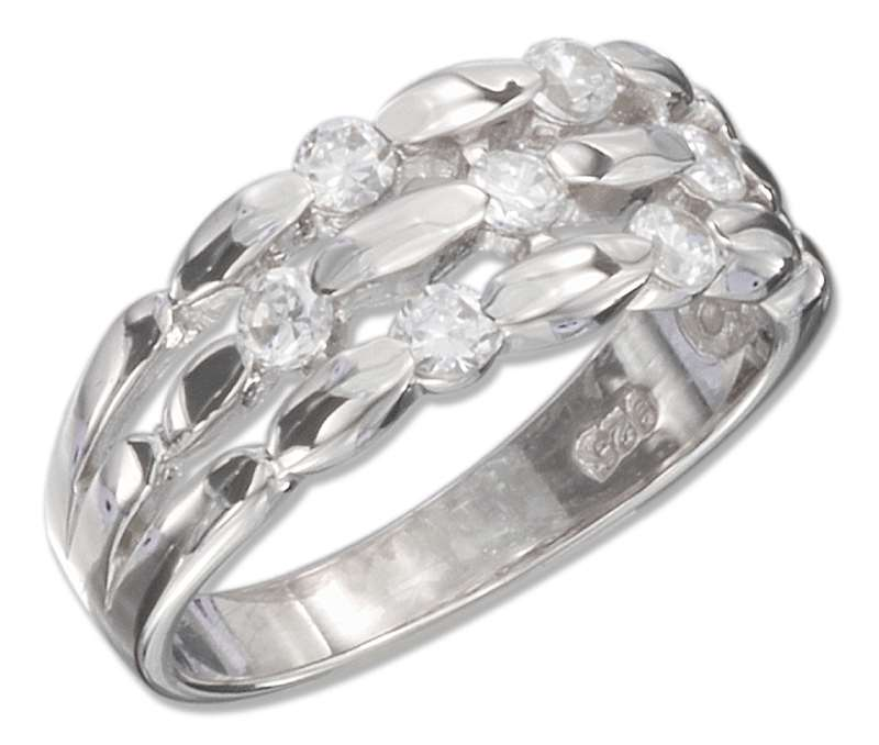 3 Row Scattered Cubic Zirconia Ring