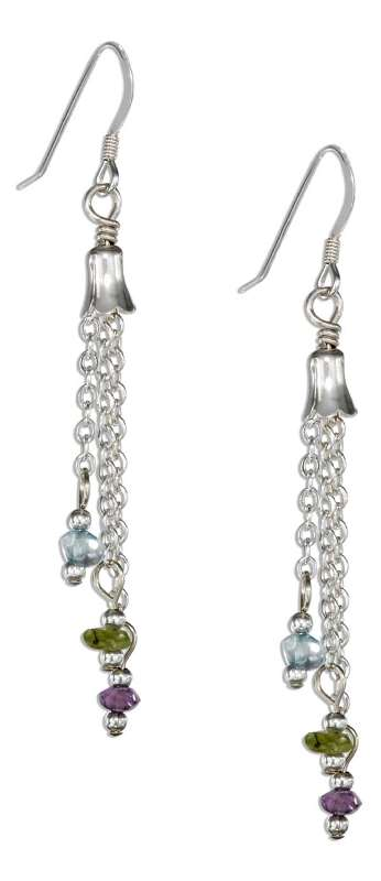 Three Strand Link Chain Blue Topaz Amethyst Peridot Dangle Earri