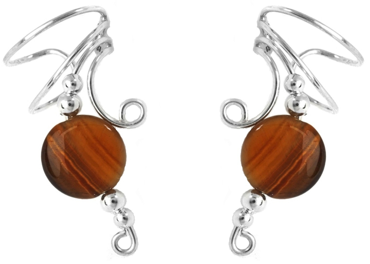 Left Only Tiger Eye Oval Disc Wave Ear Cuff Wrap