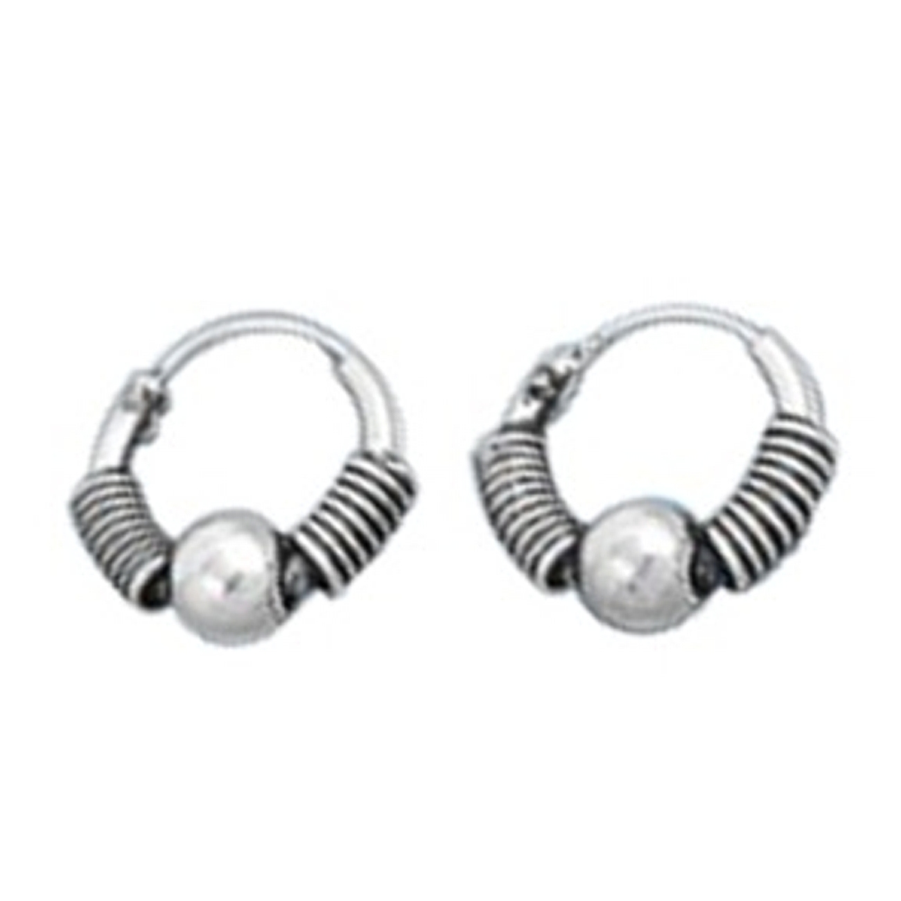 "10mm (13/32"") Tight Wrap Wire Ball Charm Tubular Endless Hoop Earrings"