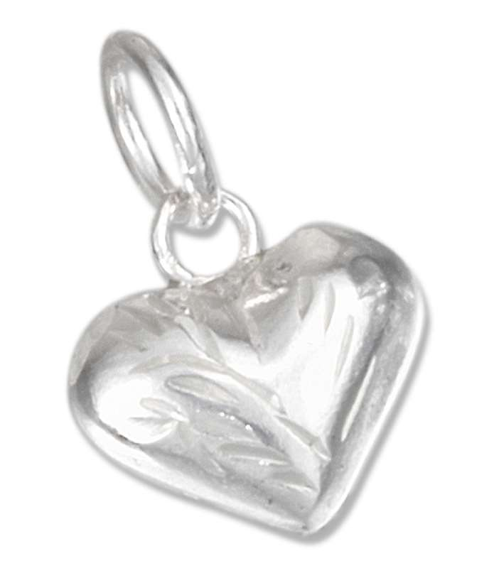 Small Etched Heart Charm
