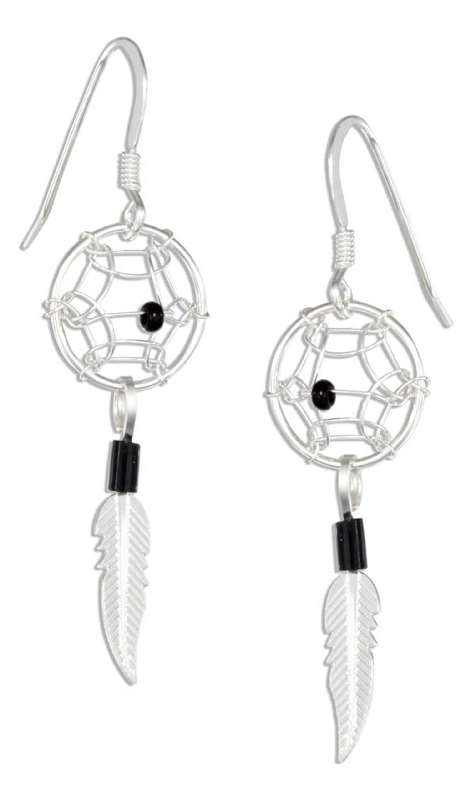 Small Black Bead Dream Catcher Earrings