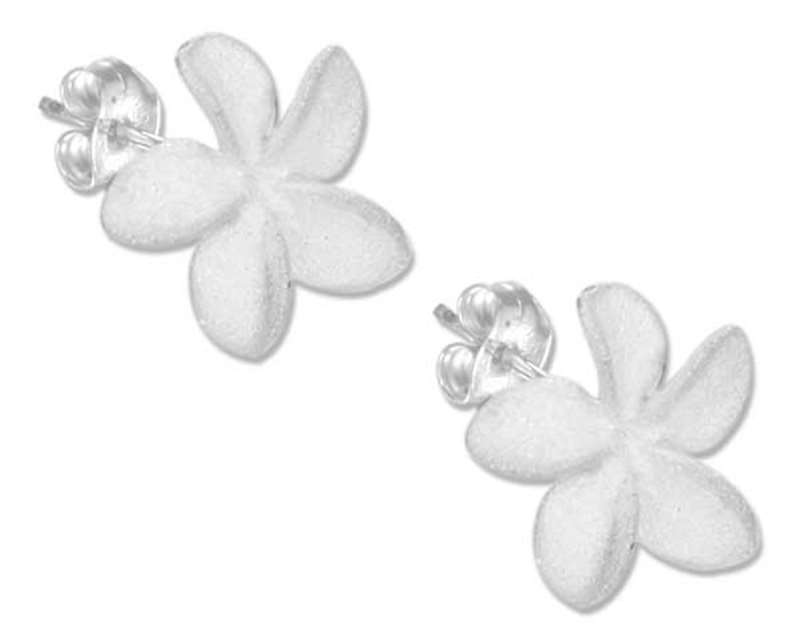 Small Satin Finish Flower Post Earrings