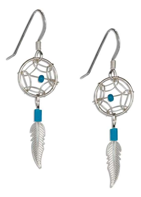 Small Turquoise Dream Catcher Earrings