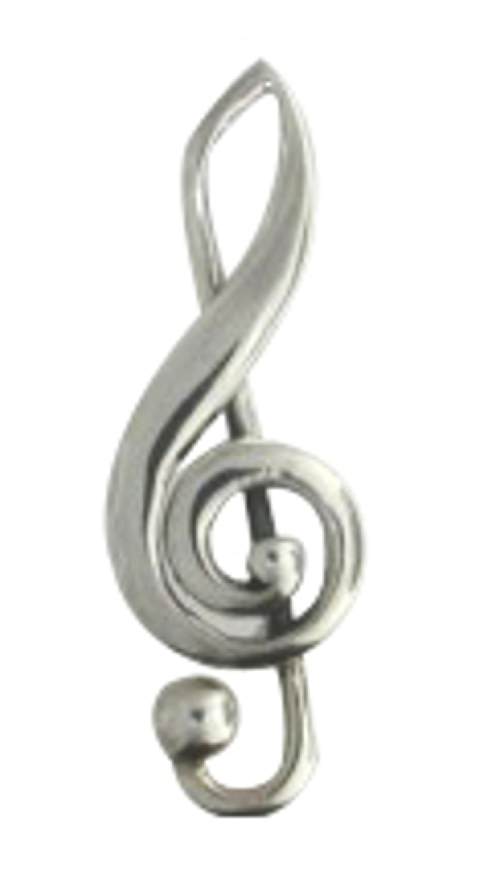 Treble Clef With Inner Scroll Brooch Pin