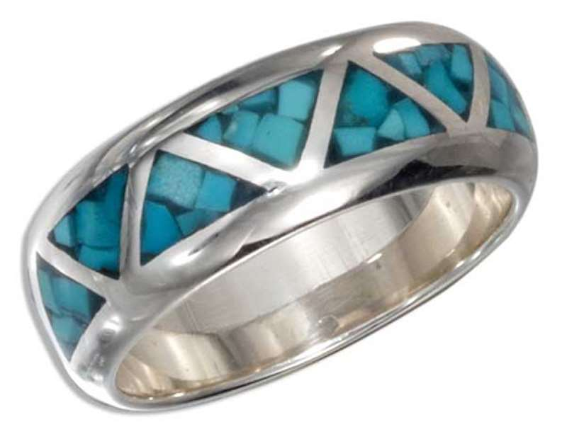 Unisex Continuous Turquoise Inlay Triangles Ring