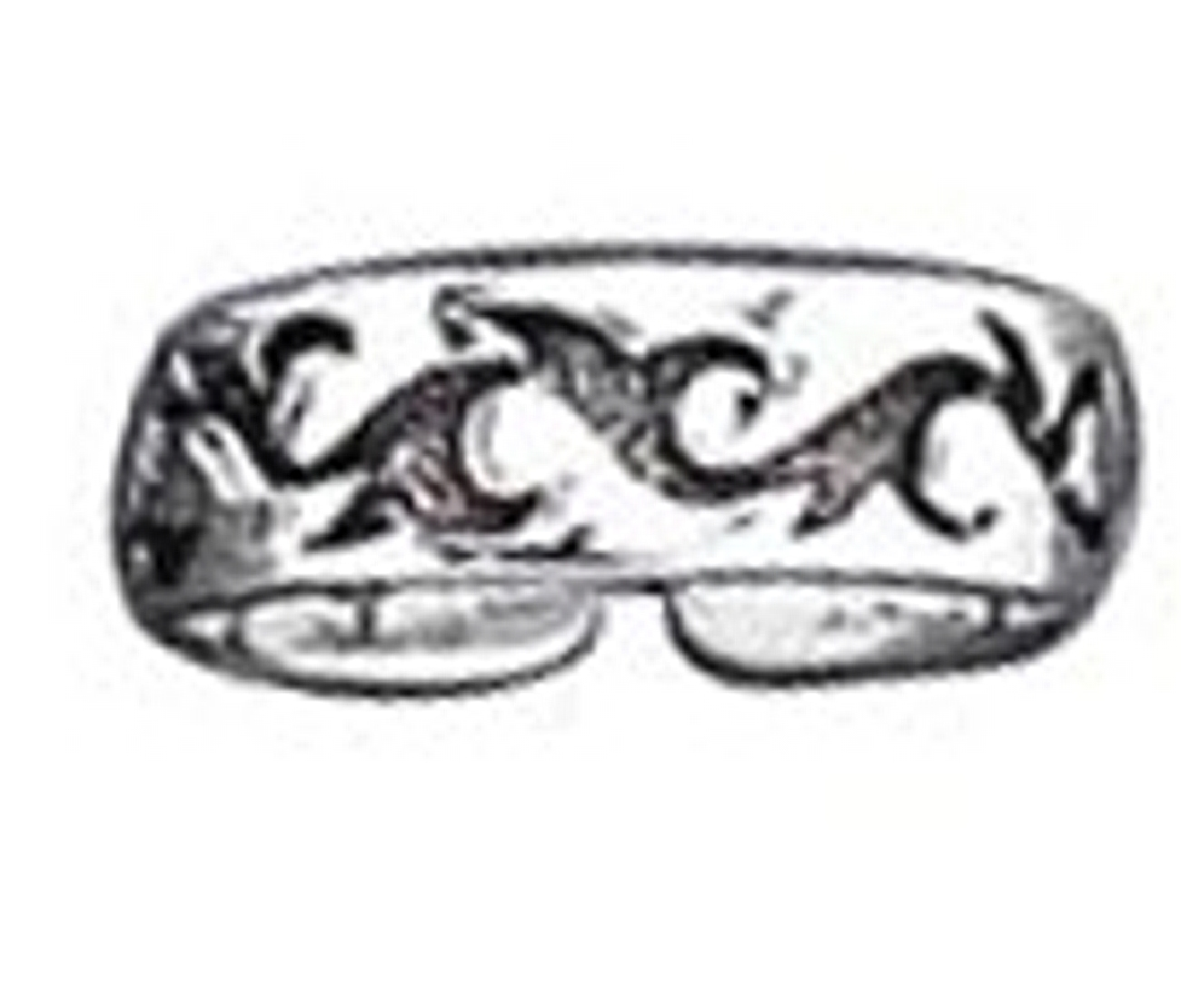 Sterling Silver Men's Tribal Design Adjustable Toe Ring