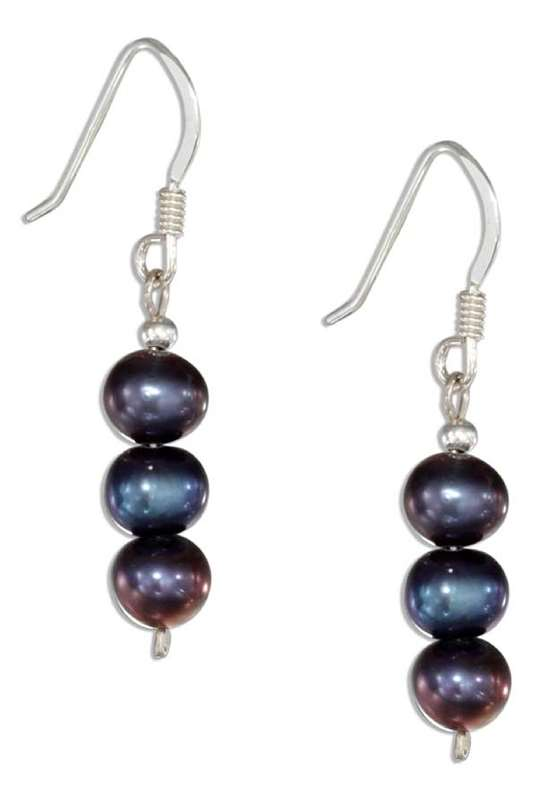 Triple Gray Freshwater Pearl Earrings
