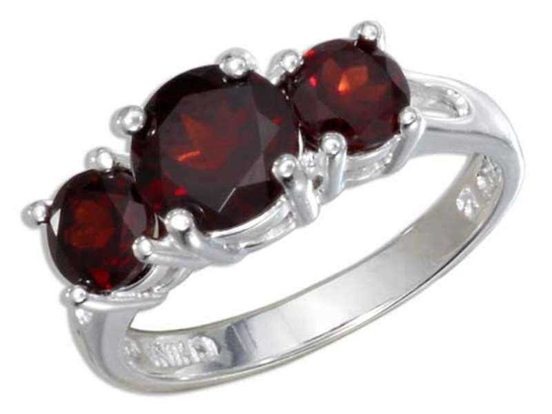 3 Three Stone Garnet Ring