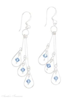 Triple Teardrop Chandelier Dangle Earrings Light Blue Swarovski