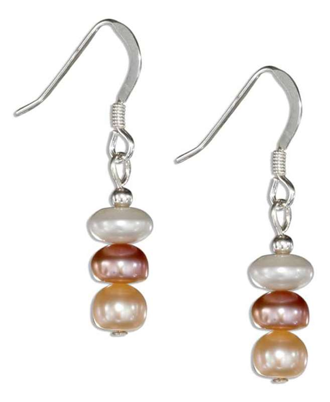 Triple Tricolor Pearl Dangle Earrings