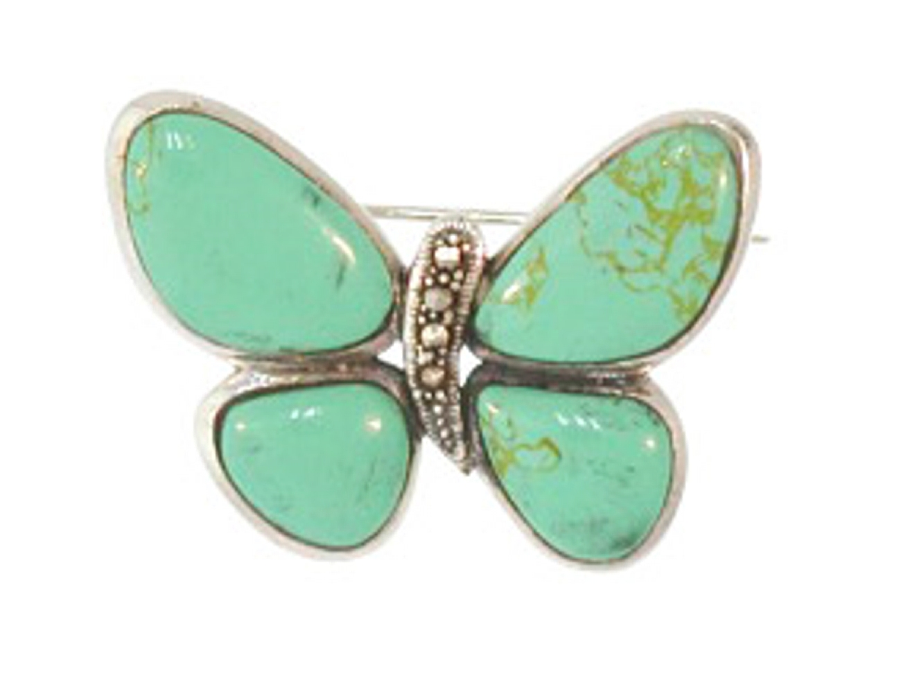 Sterling Silver Green Turquoise Butterfly Brooch