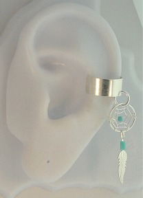 Pierceless Dangle Turquoise Dream Catcher Feather Ear Cuff