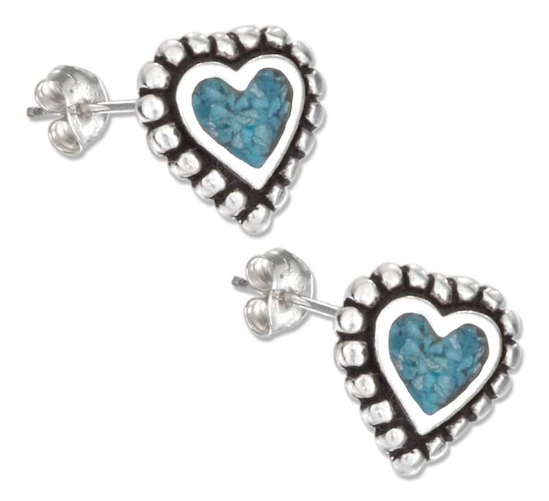 Turquoise Heart Beaded Edge Post Earrings