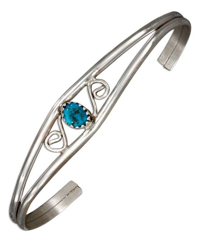 Turquoise Open Wire Cuff Bracelet S Shaped Design