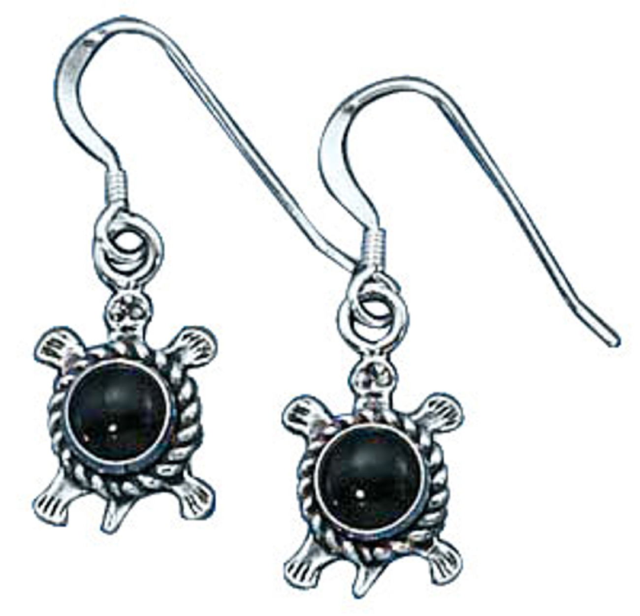 Turtles Black Onyx Roping Dangle Earrings