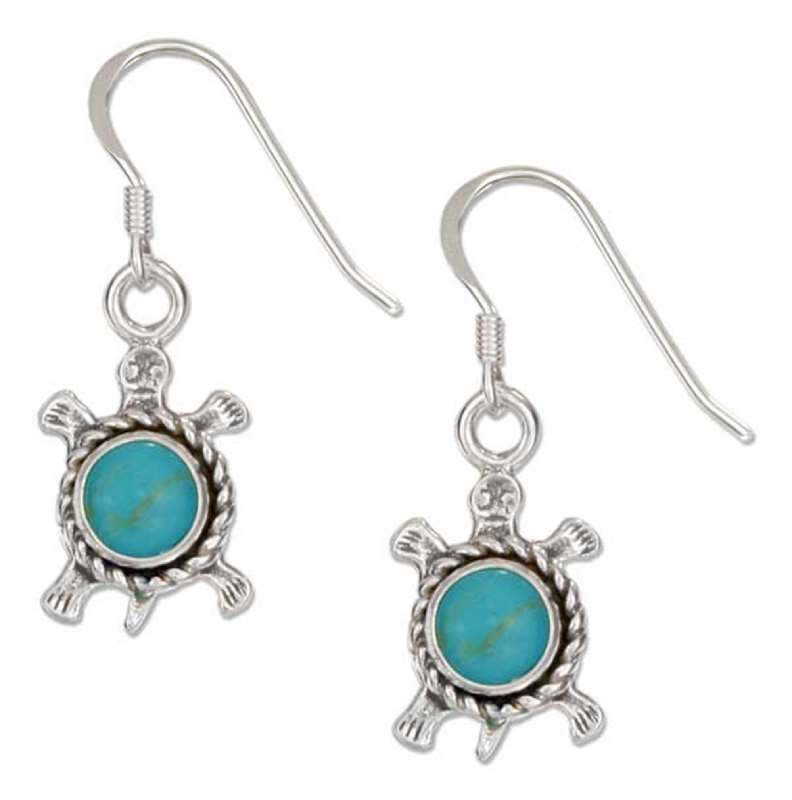 Turtles Turquoise Roping Dangle Earrings