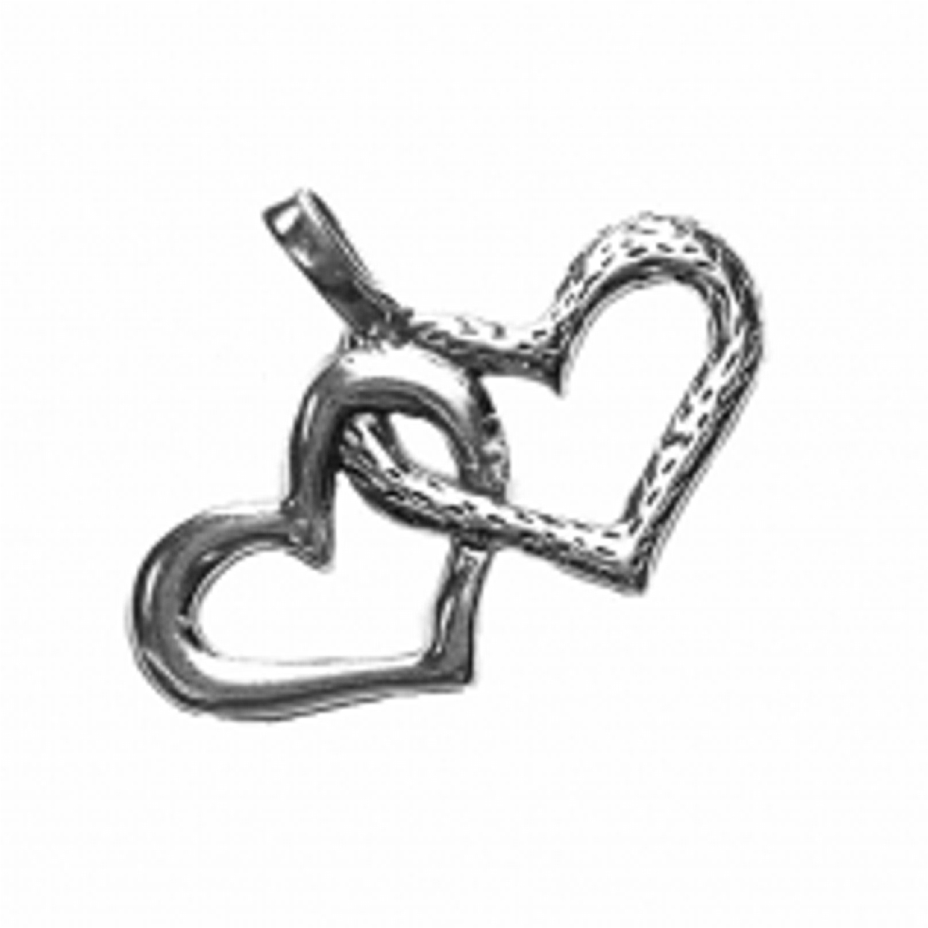 Two Hearts Linked Charm With Smooth And Textured Surfaces