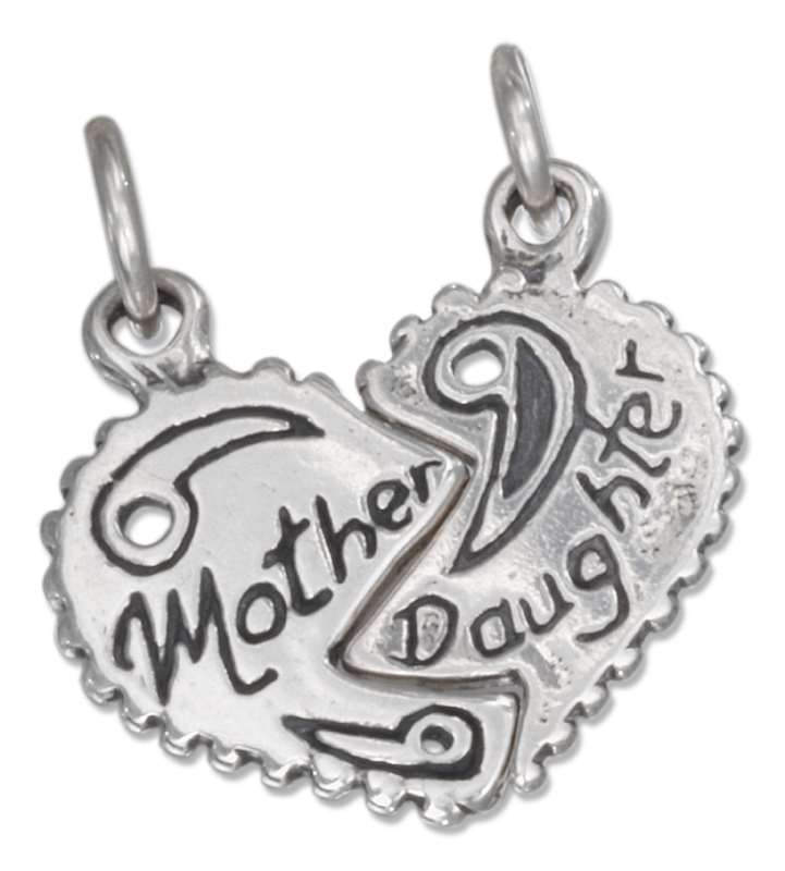 MOTHER DAUGHTER Two 2 Piece Shareable Split Heart Charm