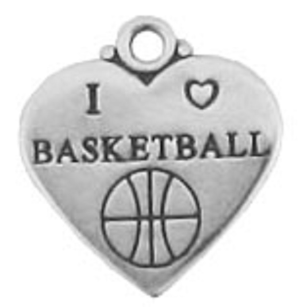 Flat Two Sided I Love Basketball Heart Shaped Charm