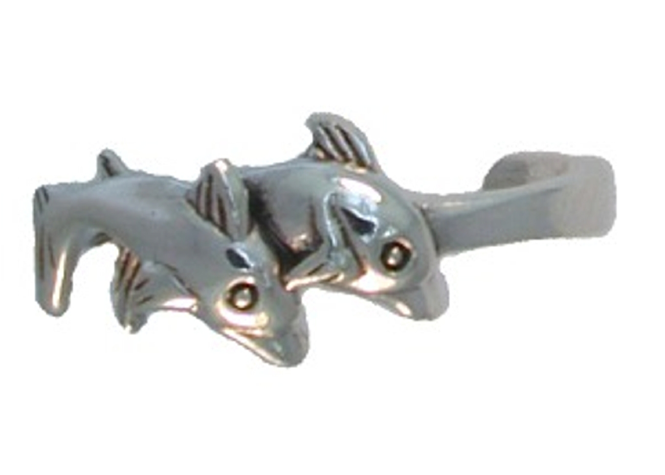 Two Swimming Dolphins Couple Adjustable Toe Ring