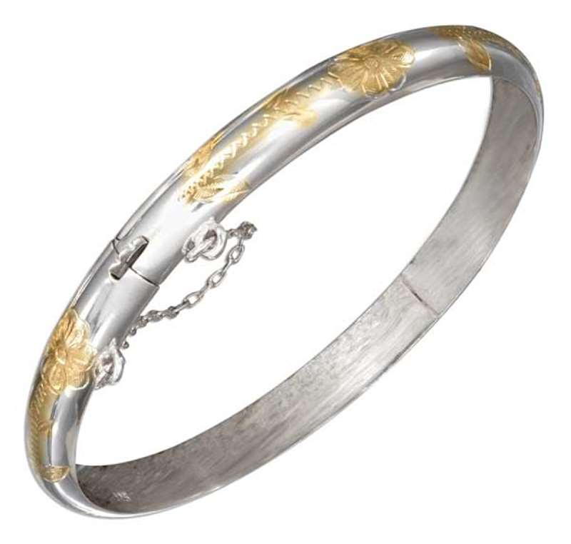 Two Tone 7mm Etched Floral Bangle Bracelet