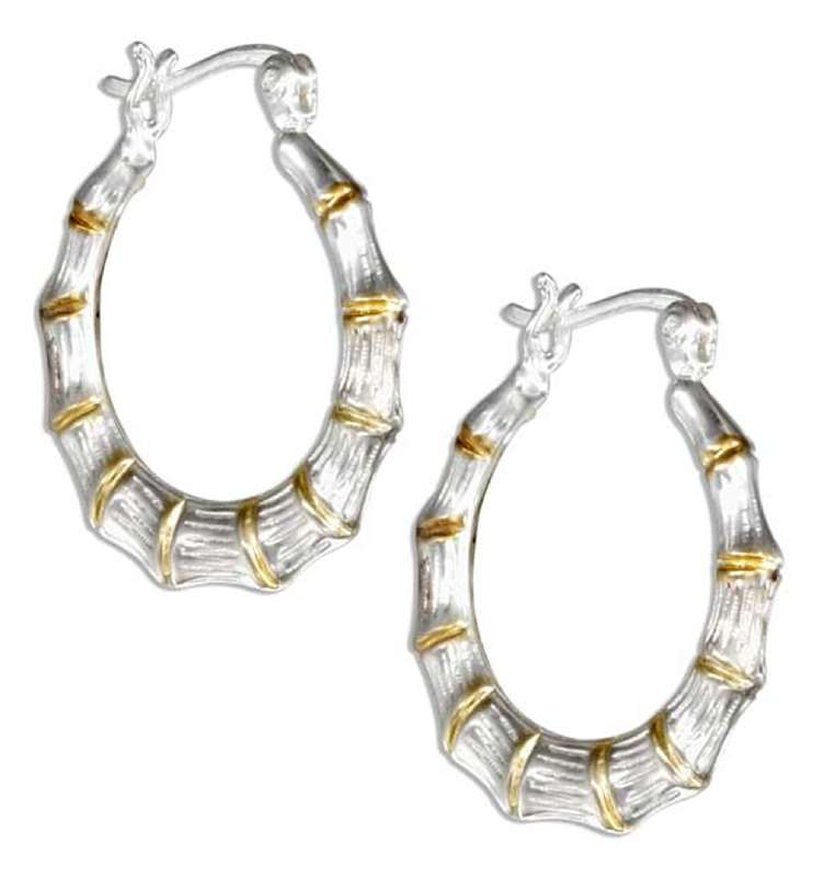 Two Tone Bamboo Hoop Earrings