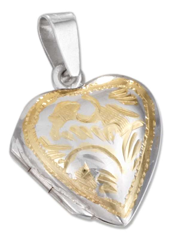 Two Tone Etched Heart Locket Pendant
