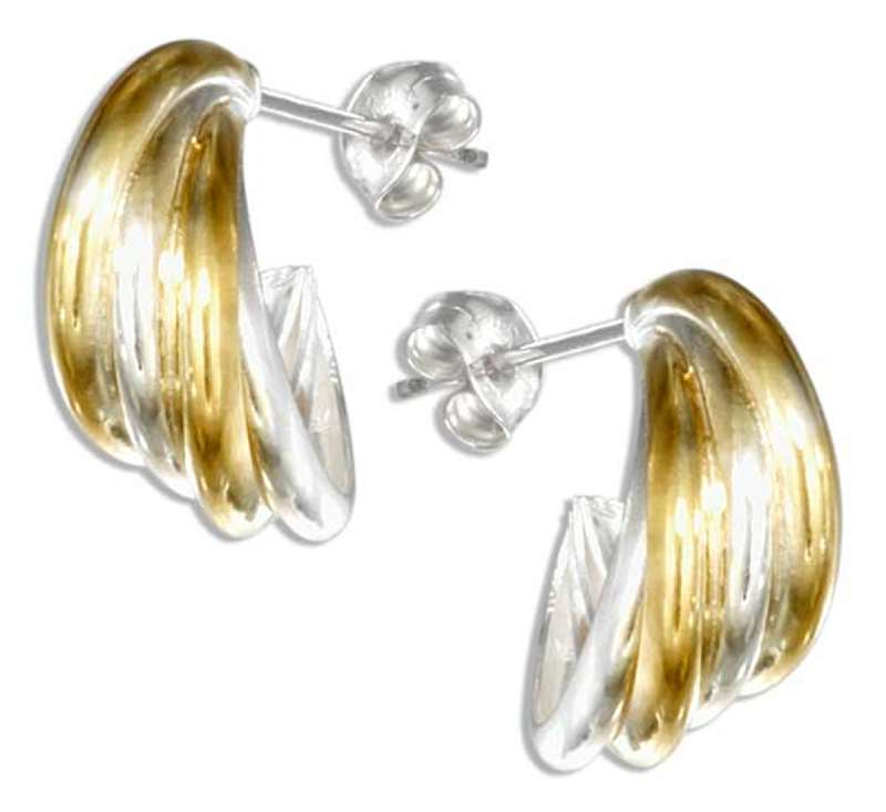 Two Tone Four Tubular Cuff Earrings