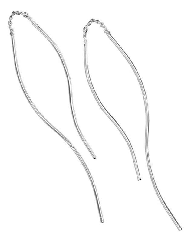 "Uneven Plain Wire ""S"" Curve Earrings Threads"