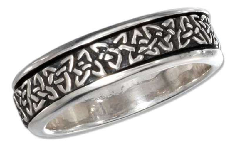 Unisex 7mm Wide Band Celtic Trinity Knot Spinner Ring