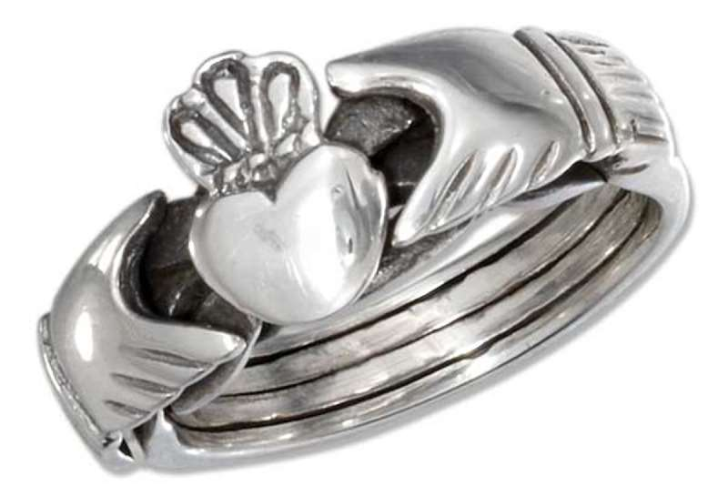 Unisex 4 Piece Claddagh Puzzle Ring