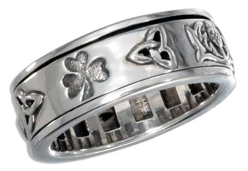 Unisex 7mm Wide Band Celtic Symbol Spinner Ring