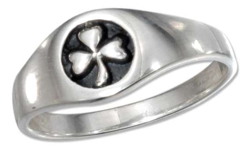 Unisex Shamrock Three 3 Leaf Clover Ring