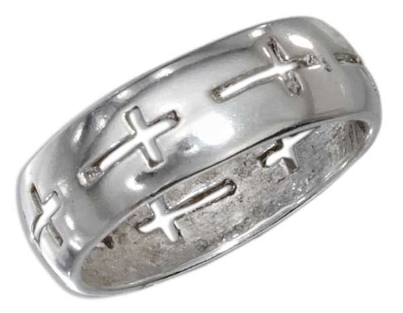 Unisex Continuous Christian Religious Cross Cut Out Ring