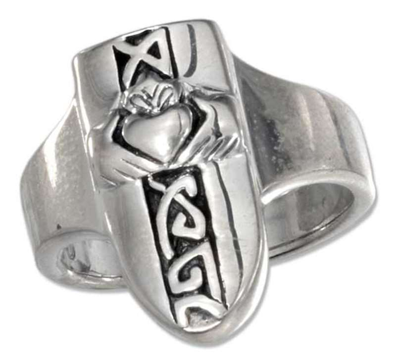 Unisex Claddagh Shield Ring Celtic Knots