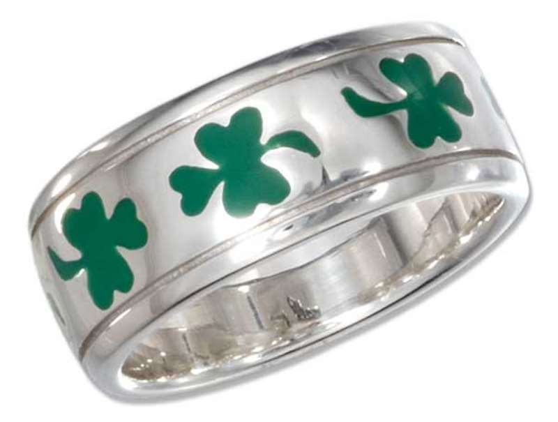 Unisex Green Enamel Shamrock Three 3 Leaf Clover Ring