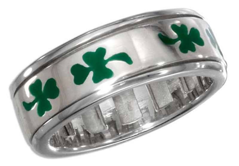 Unisex Green Enamel Shamrock Three 3 Leaf Clover Spinner Ring
