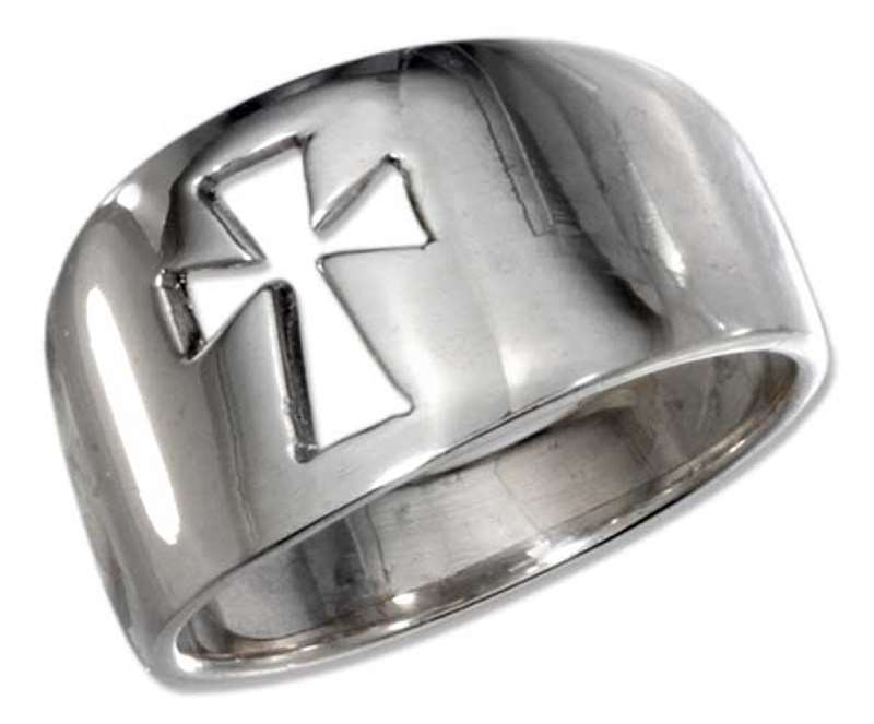 Unisex Cut Out Christian Religious Cross Ring Tapered Band
