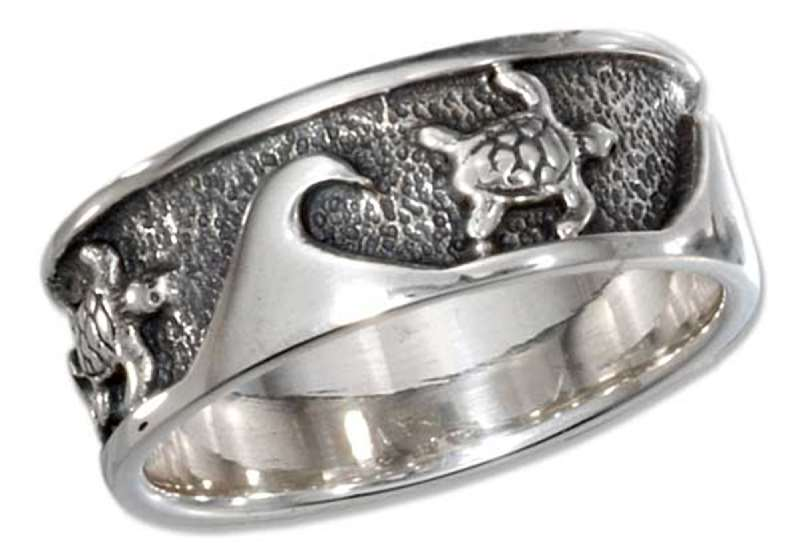 Unisex Turtles Ocean Waves Ring