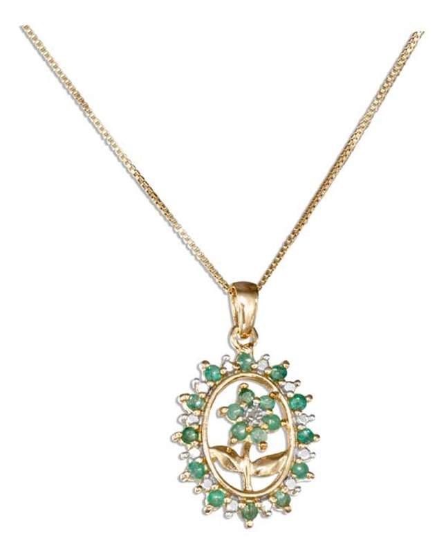 Gold Vermeil Necklace Emerald Flower Border Diamon