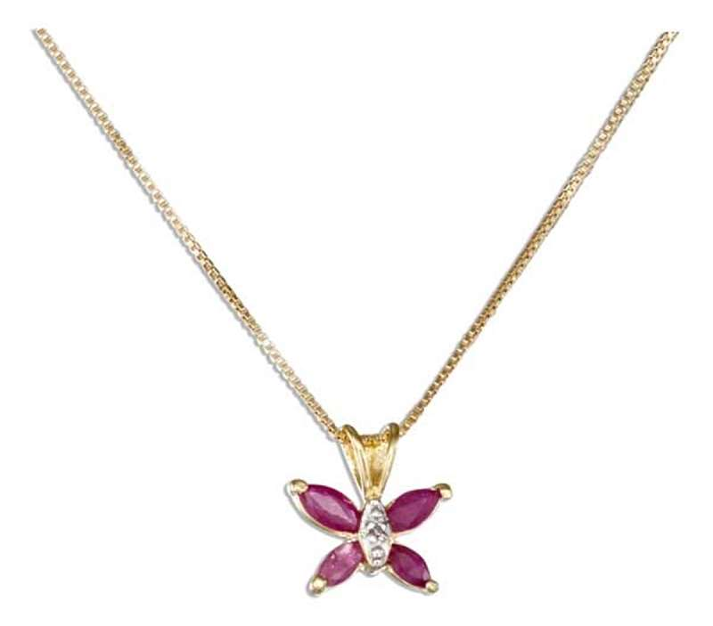 Ruby Butterfly Pendant Gold Vermeil Necklace