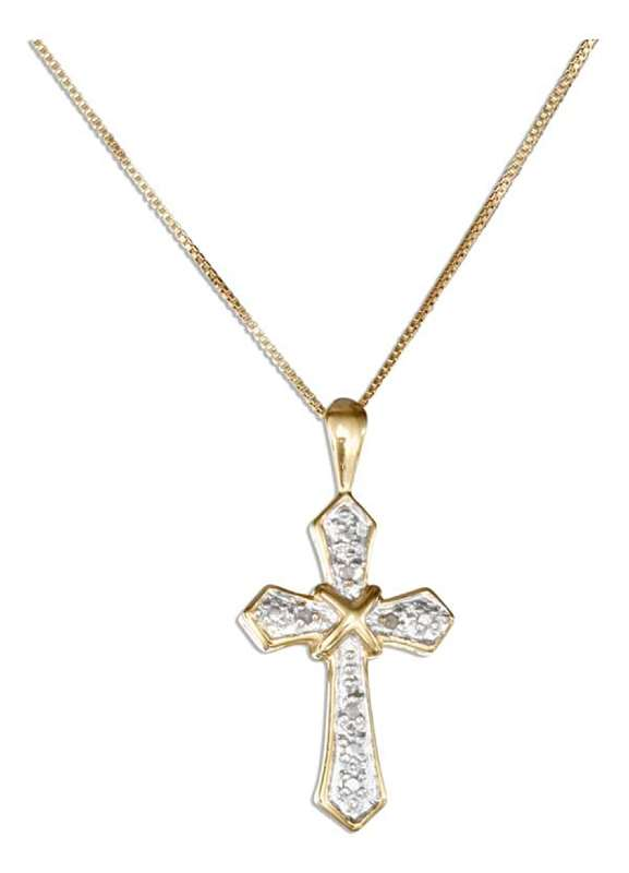 Gold Vermeil Necklace Rose Cut Illusion Christian Religious Cros