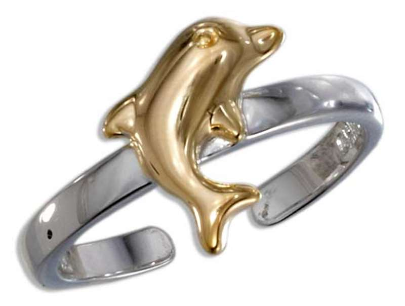 Gold Vermeil Dolphin Toe Ring