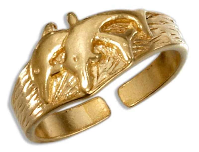 Gold Vermeil Double Dolphins Toe Ring
