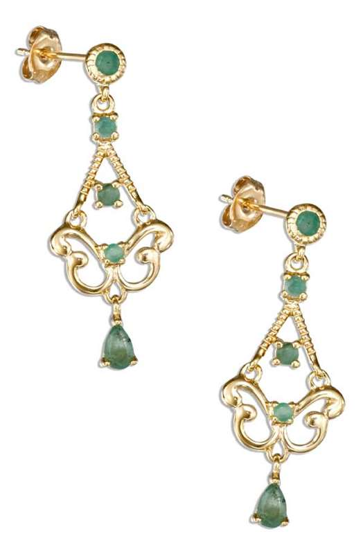 Gold Vermeil Stone Emerald Post Dangle Earrings