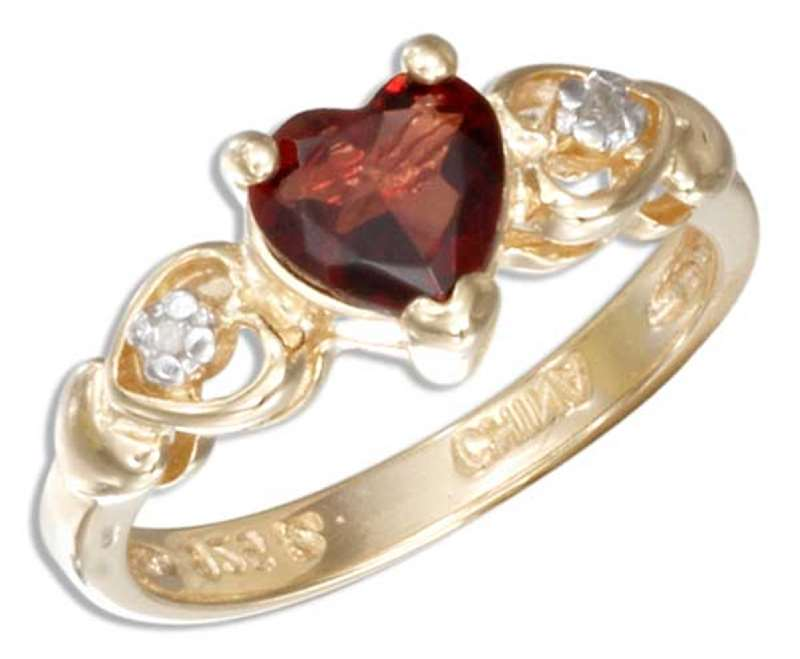Gold Vermeil Garnet Heart Ring