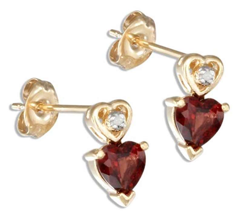 Gold Vermeil Garnet Post Earrings Diamond Chip In Heart