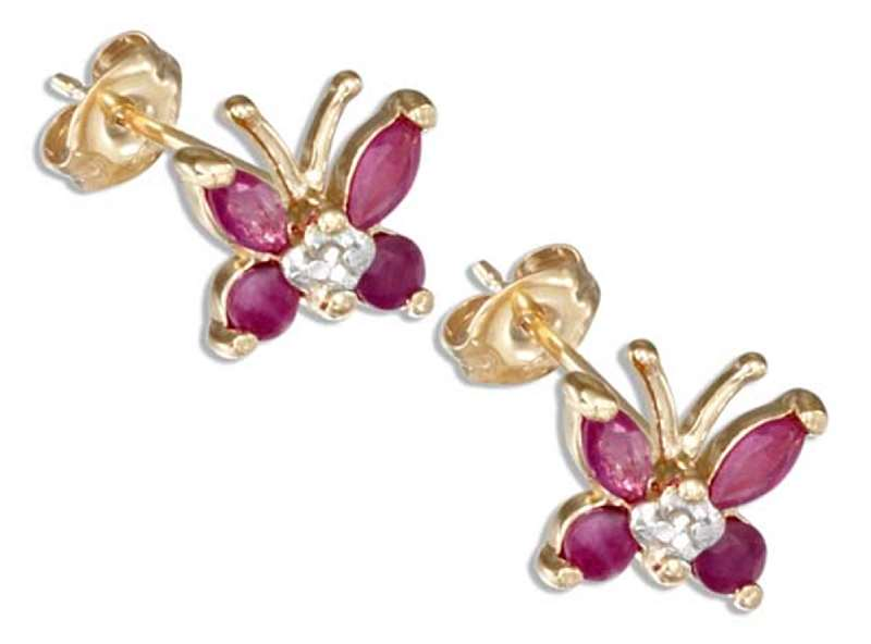 Gold Vermeil Ruby Butterfly Post Earrings