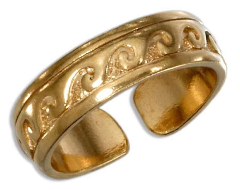 Gold Vermeil Waves Toe Ring